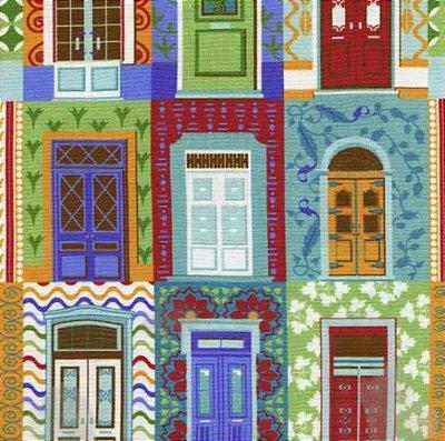 Tecido Tricoline Portas Coloridas - Coleção Portas - Preço de 50cm x 150cm