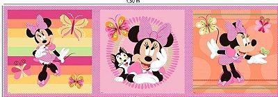 Tecido Digital Painel Minnie e Borboletas - Fundo Rosa e Salmão - Coleção Disney - Preço de 43 cm x 150 cm