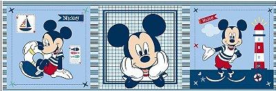 Tecido Digital Painel Mickey Navy - Fundo Azul - Coleção Disney - Preço de 43 cm x 150 cm