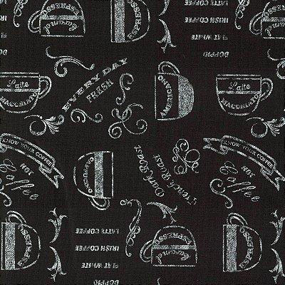 Tecido Tricoline Café - Coleção Cozinha Gourmet - Fundo Preto - Preço de 50cm x 150cm