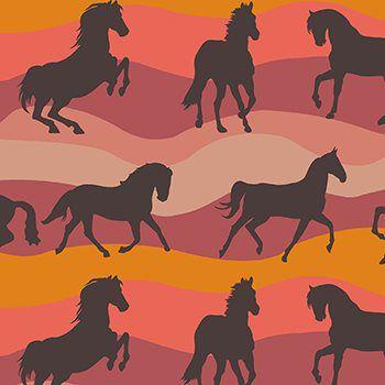 Tecido Tricoline Estampa Cavalos - Tons de Laranja - Coleção Cowboys e Índios - Preço de 45 cm X 150 cm