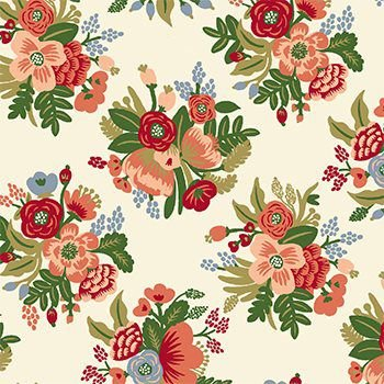 Tecido Tricoline Floral Pequeno - Fundo Creme - Coleção Botânica - Preço de 50 cm x 150 cm