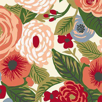 Tecido Tricoline Floral - Fundo Creme - Coleção Botânica - Preço de 50 cm x 150 cm