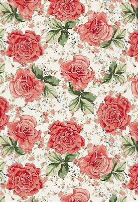 Tecido Tricoline Estampa Floral - Fundo Branco - Preço de 50cm x 146cm