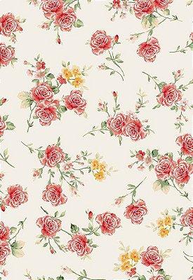 Tecido Tricoline Estampa Floral Pequeno- Fundo Branco - Preço de 50cm x 146cm