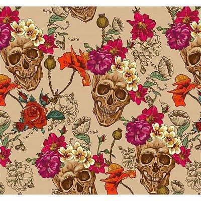 Tecido Digital Caveira Floral - Fundo Bege - Preço de 50cm x 150cm