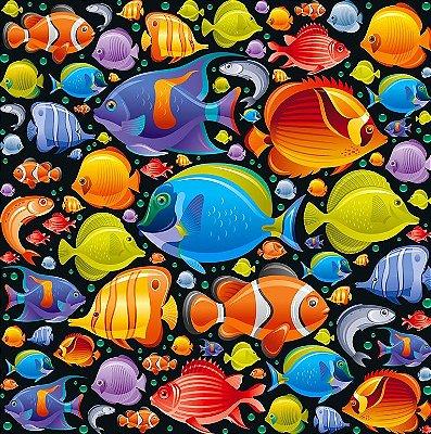 Tecido Digital Fundo Oceano - Fundo Preto - Preço de 50 cm x 140 cm