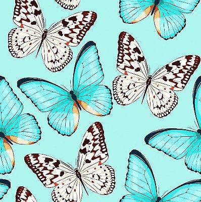 Tecido Digital Borboletas Azuis - Fundo Tiffany - Preço de 50 cm x 140 cm