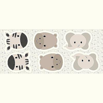 Tecido Tricoline - Pillows - Rostinhos de Zebra, Hipopótamo e Elefante - Preço de 60 cm x 150 cm