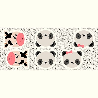 Tecido Tricoline - Pillows - Rostinhos de Vaca e Panda - Preço de 60 cm x 150 cm