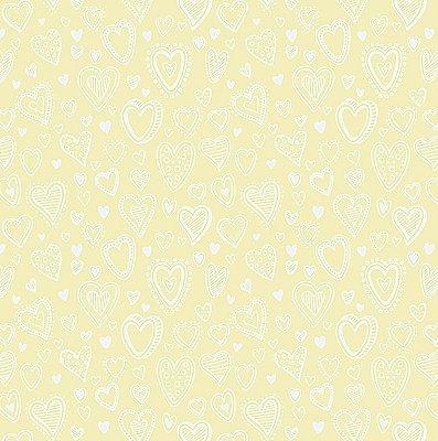 Tecido Tricoline Multi Corações - Creme - Preço de 50 cm x 150 cm