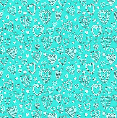 Tecido Tricoline Multi Corações - Tiffany - Preço de 50 cm x 150 cm