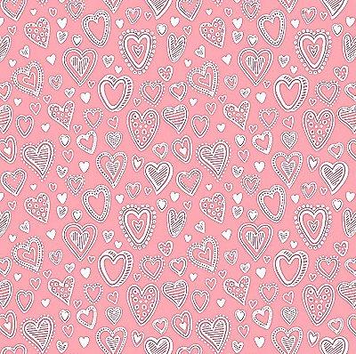 Tecido Tricoline Multi Corações - Rosa Pink - Preço de 50 cm x 150 cm