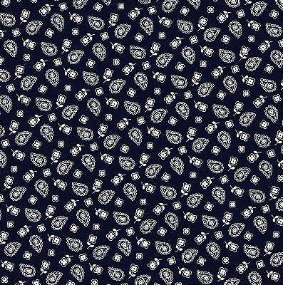 Tecido Tricoline Multi Corações - Azul Marinho - Preço de 50 cm x 150 cm