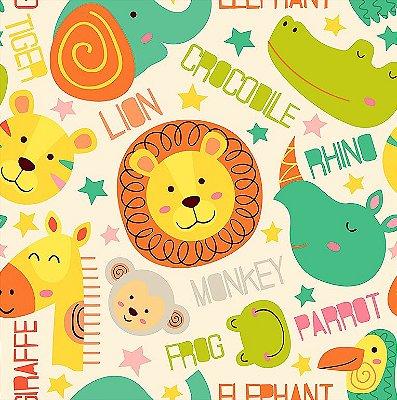 Tecido Tricoline Rostinhos da Selva: Elefante, Leão, Rinoceronte, Macaco, Hipopótamo, Sapo, Tigre, Girafa, Tucano e Jacaré - Fundo Creme - Preço de 50 cm x 150 cm