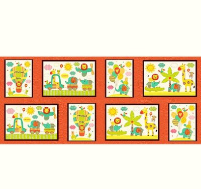 Tecido Tricoline Painel Selva Colorida - Preço de 30 cm x 150 cm