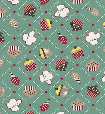 Tecido Tricoline Doces do Chefe: Cupcake, Sorvete, Docinhos - Fundo Verde - Preço de 50 cm X 150 cm