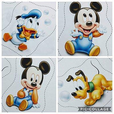 Tecido Digital Naninha Disney Baby: Mickey, Donald e Pluto - Vendidas Separadamente
