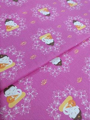 Tecido Tricoline Buda - Fundo Rosa Pink - Coleção Piv Cat - Preço de 50 cm X 150 cm