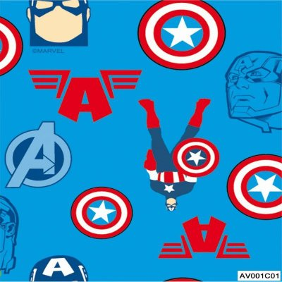 Tecido Tricoline Capitão América Vingadores - Fundo Azul - Coleção Marvel - Preço de 50 cm x 150 cm