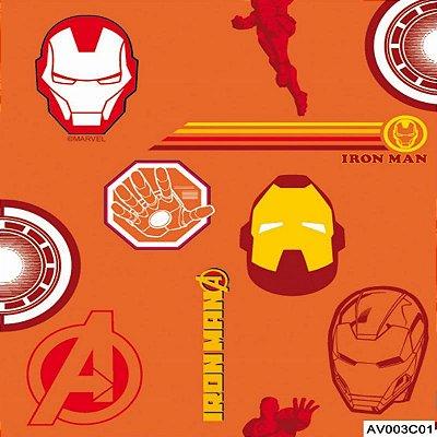 Tecido Tricoline Homem de Ferro 2 Vingadores - Fundo Laranja - Coleção Marvel - Preço de 50 cm x 150 cm