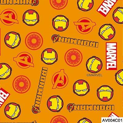 Tecido Tricoline Homem de Ferro 1 Vingadores - Fundo Laranja - Coleção Marvel - Preço de 50 cm x 150 cm