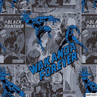 Tecido Tricoline Pantera Negra dos Vingadores 2 - Fundo Cinza - Coleção Marvel - Preço de 50 cm x 150 cm