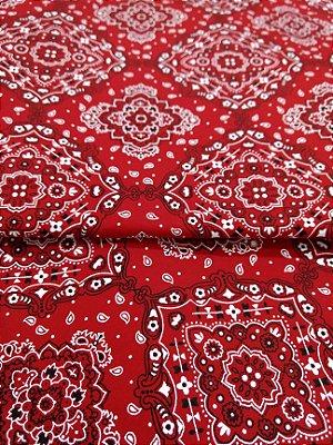 Tecido Tricoline Bandana - Fundo Vermelho - Preço de 50 cm x 150 cm