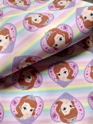 Tecido Estampa Exclusiva de Personagens - Princesa Sofia - 100% poliéster - Preço de 80cm x 60cm