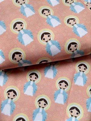 Tecido Estampa Exclusiva de Santos - Nossa Senhora das Graças - 100% poliéster - Preço de 80cm x 60cm