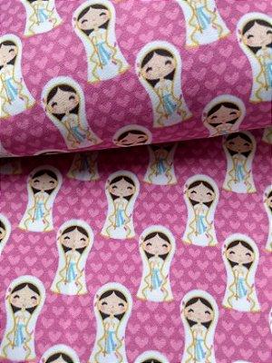 Tecido Estampa Exclusiva de Santos - Nossa Senhora das Dores - 100% poliéster - Preço de 80cm x 60cm