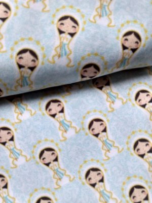 Tecido Estampa Exclusiva de Santos - Nossa Senhora de Lourdes - 100% poliéster - Preço de 80cm x 60cm