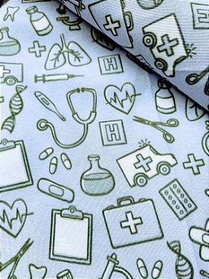 Tecido Estampa Exclusiva de Profissões - Enfermagem e Medicina - 100% poliéster - Preço de 80cm x 60cm