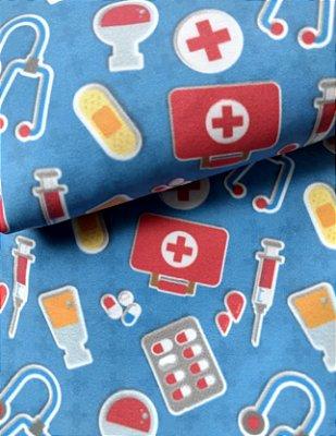 Tecido Estampa Exclusiva de Profissões - Utensílios de Médico - 100% poliéster - Preço de 80cm x 60cm