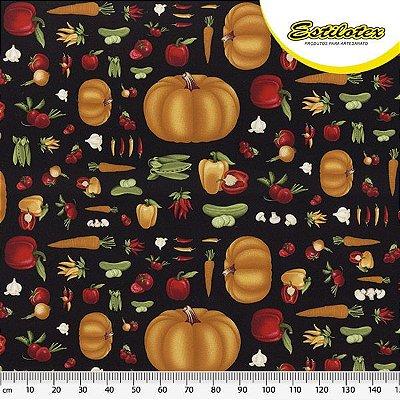 Tecido Tricoline de Legumes: Abóbora, Cenoura, Pepino, Vagem, Pimenta, Alho, Rabanete e Pimentão - Fundo Preto - Preço de 50 cm x 140 cm