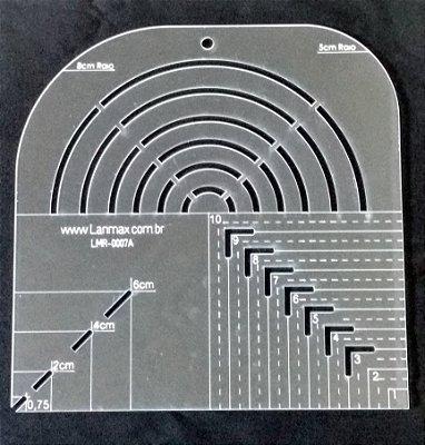 Régua de Gabarito para Curvas e Caixa de Leite - De 1 cm a 10 cm