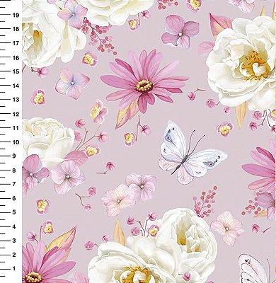 Tecido Digital - Rosa Branca - Fundo Rosa - Preço de 50cm x 150cm