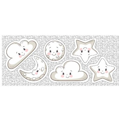 Tecido Tricoline - Pillows - Rostinhos de Lua, Estrela e Nuvem - Preço de 60 cm x 150 cm