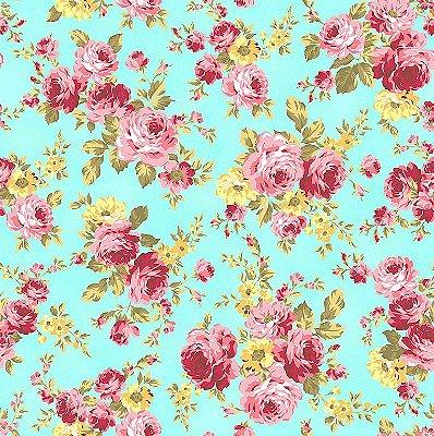 Tecido Tricoline Floral ACqua - Fundo Tiffany - Coleção Exuberance - Preço de 50 cm x 150 cm