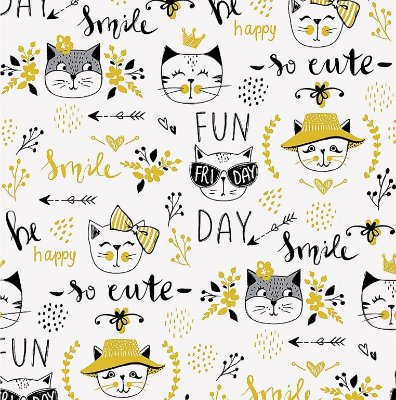 Tecido Tricoline Estampa de Gato Amarelo - Fundo Branco - Coleção Funny Cat - Corte Mínimo 50 cm x 150 cm
