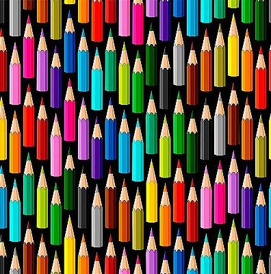Tecido Digital - Lápis de Cor - Fundo Preto - Preço de 50 cm x 146 cm