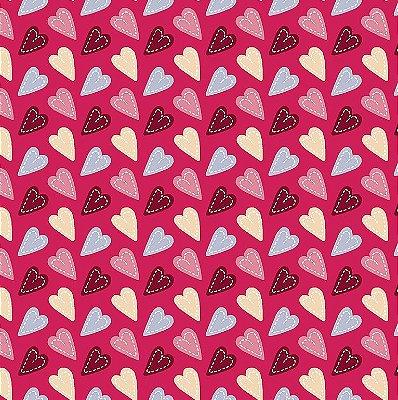 Tecido Tricoline Coração Patch Vinho - Fundo Pink - Coleção Anjos Patch - Preço de 50cm x 150cm