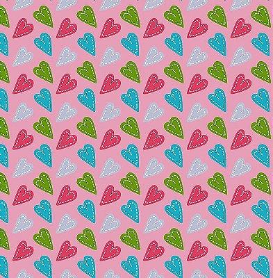 Tecido Tricoline Coração Patch Rosa - Fundo Rosa - Coleção Anjos Patch - Preço de 50cm x 150cm