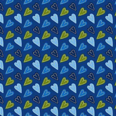 Tecido Tricoline Coração Patch Azul - Fundo Marinho - Coleção Anjos Patch - Preço de 50cm x 150cm