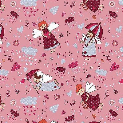 Tecido Tricoline Anjos Patch Vinho - Fundo Rosa - Coleção Anjos Patch - Preço de 50cm x 150cm