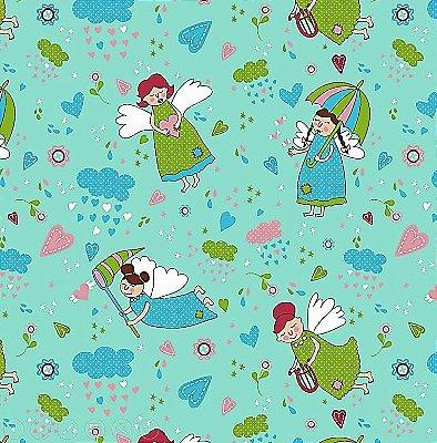 Tecido Tricoline Anjos Patch Acqua - Fundo Tiffany - Coleção Anjos Patch - Preço de 50cm x 150cm