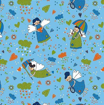 Tecido Tricoline Anjos Patch Azul- Fundo Azul Claro - Coleção Anjos Patch - Preço de 50cm x 150cm