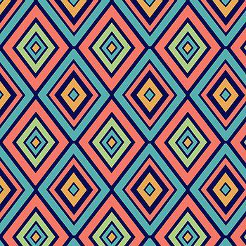 Tricoline Losangos Laranja e Marinho  - Coleção Safári - Preço de 50 cm x 150 cm