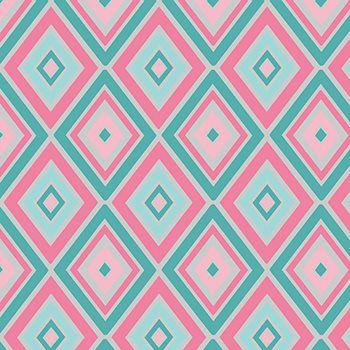 Tricoline Losangos Rosa e Tiffany  - Coleção Safári - Preço de 50 cm x 150 cm