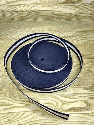Alça Chic Para Bolsa de Poliéster Listrada Azul - 3 cm - Preço de 3cm x 50cm